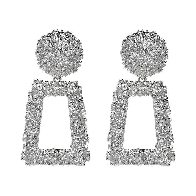 2019 6.9cm גדול וינטג לנשים זהב צבע גיאומטרי הצהרת עגיל 2019 מתכת עגיל תליית תכשיטים