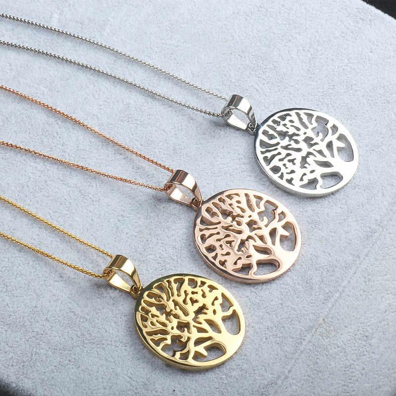 สแตนเลส Family Tree of Life สร้อยคอจี้สำหรับ hollowed-OUT Gold Rose Gold สีเหล็กสแตนเลสเครื่องประดับ