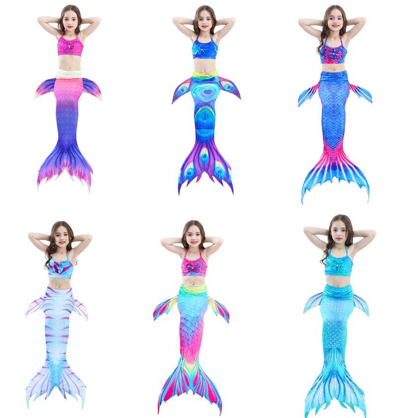 23Color Girls Mermaid Costumes Kids Swimsuit Swimming Bikini Fairy Tales Halloween Cosplay Costume Bra+Shorts+Tail Set 110-150CM