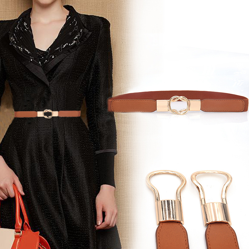 Dress Cummerbund For Women Fashion Retro All-match PU Leather High-elastic Thick Belt For Women