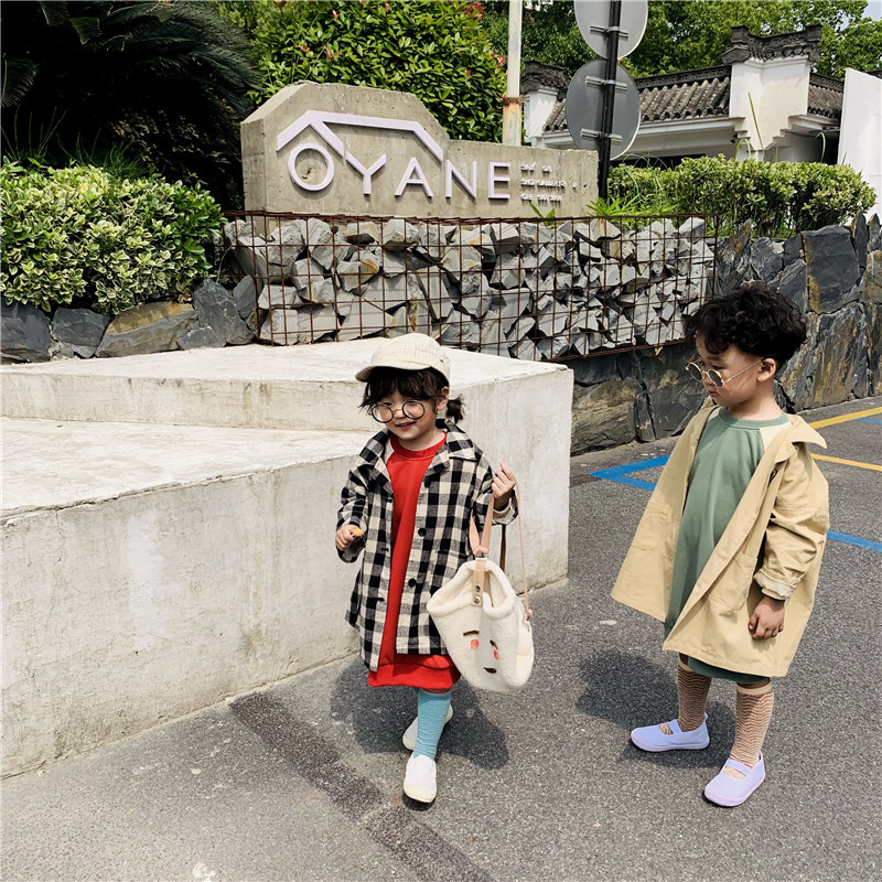 2019 Autumn New Children Baby Girl   Trench   Coats Korean Style Fashion Khaki and Plaid Loose Jackets Kids Toddler Long Outerwear