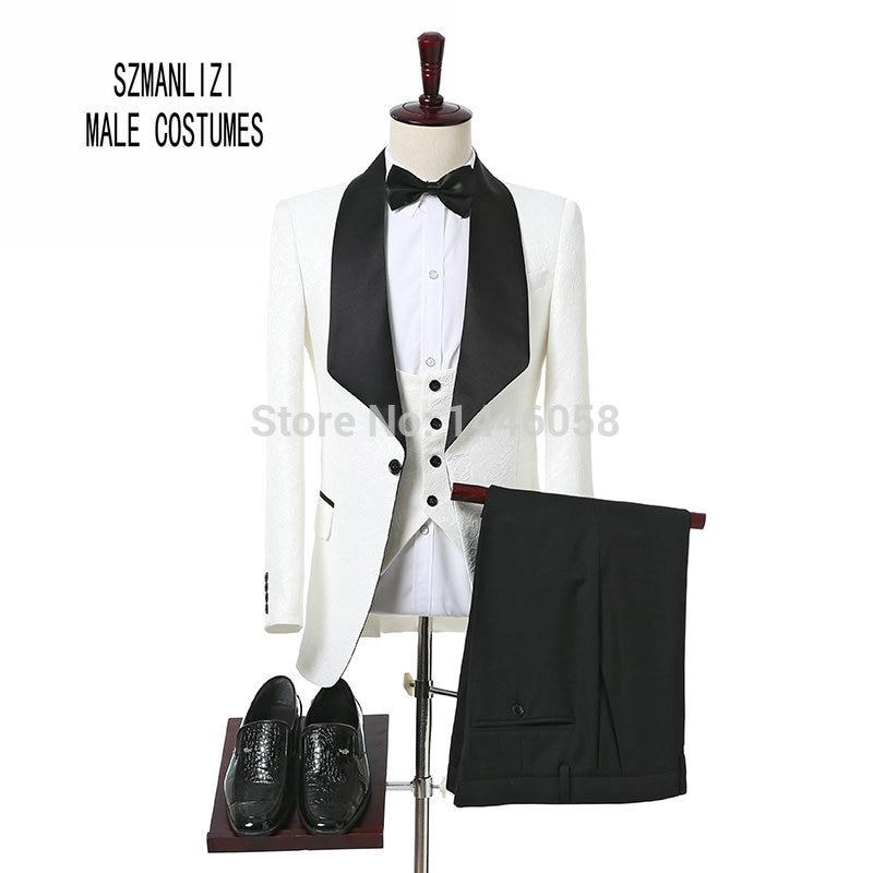2017 Groom Tuxedos Shawl Lapel White Men Suits Latest Coat Pant Designs Men Groom Wedding Suits For Men Prom Tuxedo Custom Made
