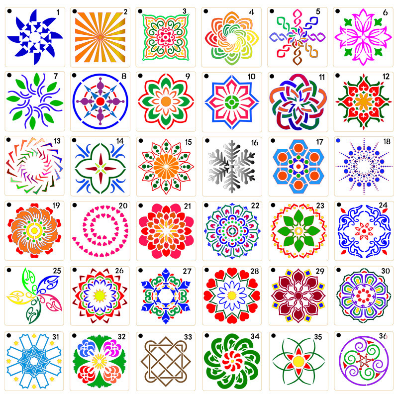 36pcs/set 90*90mm Mandala Painted Template DIY Craft Layering Stencills Spray Print Stone Inkjet Painting Creative Decoration