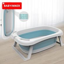 Babyinner Folding Baby Bath Tub Intelligent Temperature-sensing Bathtub Thickened Baby Swim Tubs Children Eco-friendly Supplies