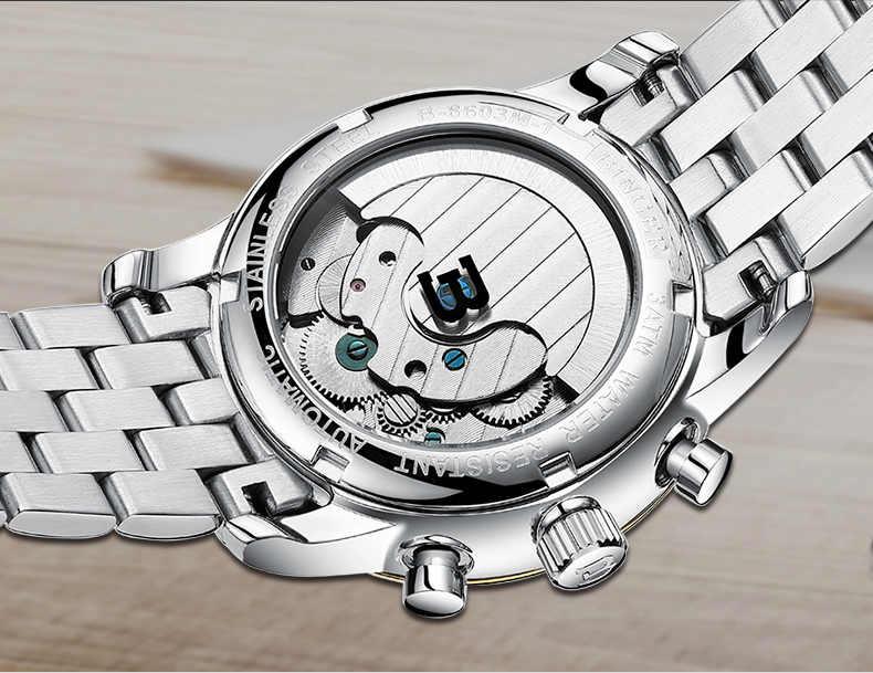 Relojes hombre Bussinest horloge BINGER cuir hommes squelette automatique montre Sport mécanique montre-bracelet relogio masculino