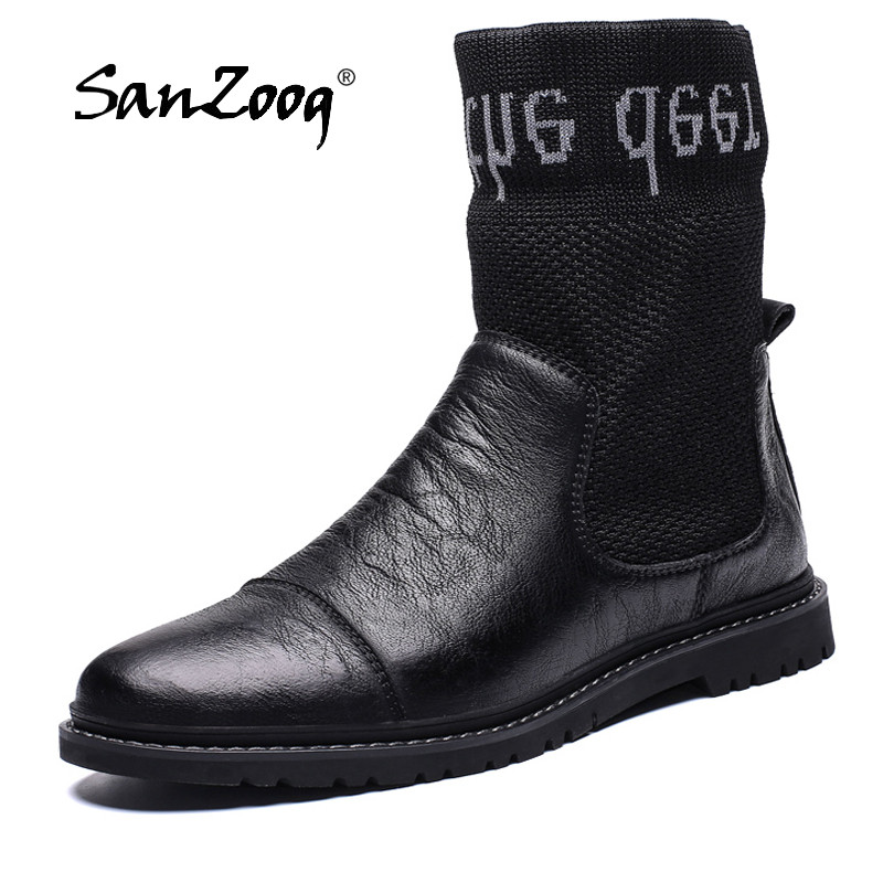 Winter Leather Ankle Mens Boots Casual High Top Men Shoes Botines Hombre Bottes Homme Cuir Stivaletti Uomo Dropshipping Designer