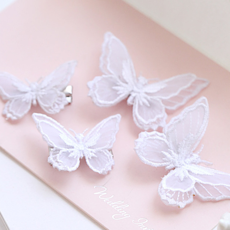 1Pcs Butterfly Baby Hair Clips  Handdmade Princess Cute Princess Embroidery Hairpins For Girls Newborn Kids Hair Accessories New