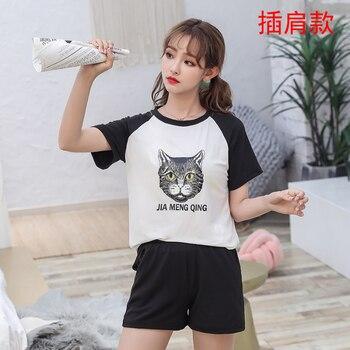 Hot sale Summer Shorts Pajama Sets for Women Short Sleeve Sleepwear Cute Girls Cartoon Pyjama Homewear Pijama Mujer Home Clothes 28