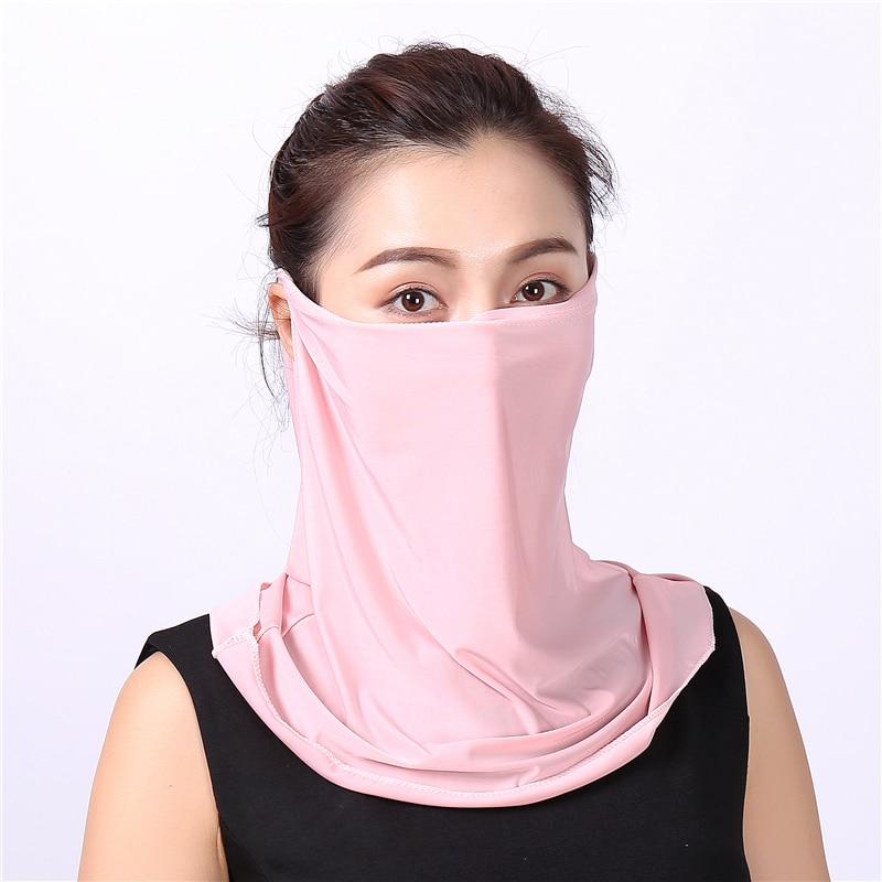 Silk Face Mask Lady Hair Scarf Summer Sun Protection UV Solid Scarf Female Bandana Accessories Fashion Neckerchief New 2020