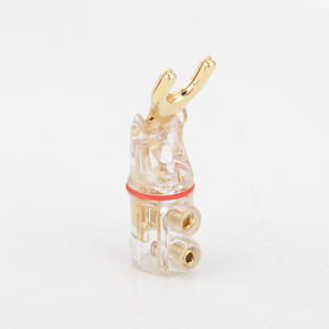 Image 5 - 2pcs Gold /Rhodium plated Y Spade Banana plug connectors jagged sawtooth Speaker Plugs HiFi Audio Screw Fork Connector Adapter
