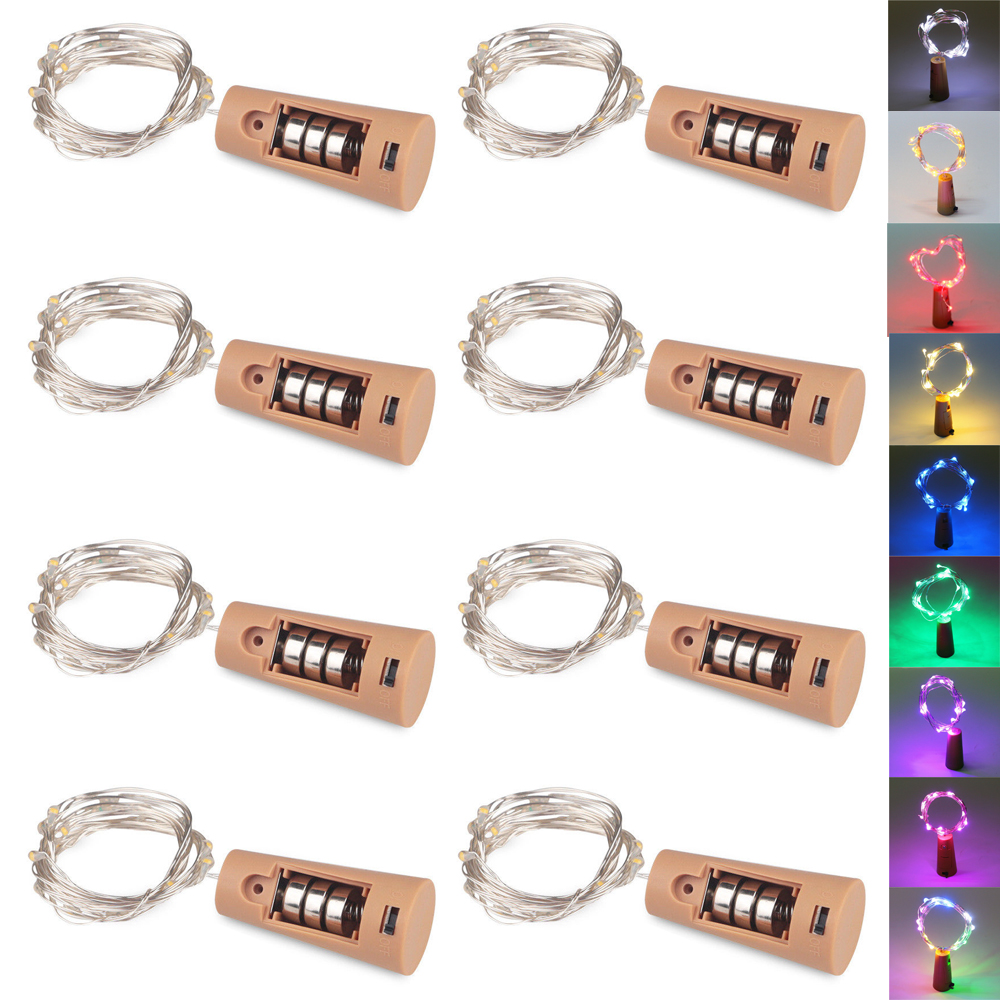 8Pcs Colorful LED Cork String Light 1M 2M Fairy Lights Garlands Battery Included Copper For Xmas New Year Wine Bottle Decor Lamp