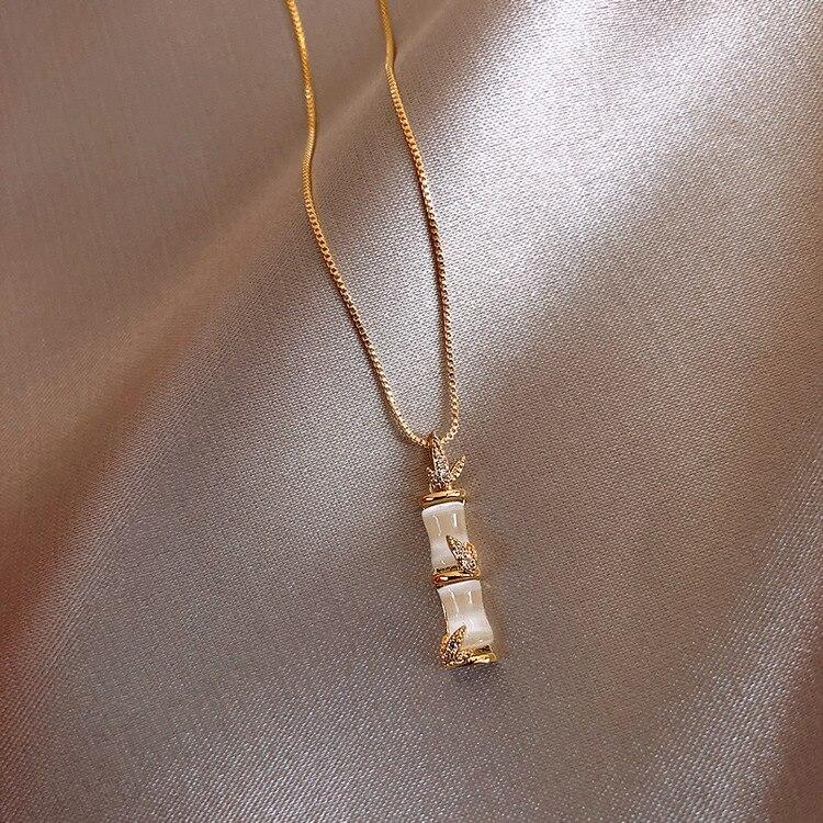 2020 Korea Best Selling Fashion Jewelry Creativity Design Bamboo Shell Micro-Set Pendant Necklace Elegant Female Necklace
