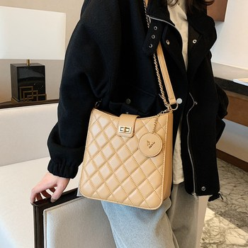Fashion Women Diamond Lattice Shoulder Bags High Quality Pu Leather Lock Sling Handbag Female Plaid Quilted Chain Crossbody Bag women quilted chain shoulder bag wide strap plaid messenger handbag female leather tote bags small diamond lattice crossbody bag