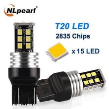 цена на NLpearl 2x Signal Lamp 7440 Amber Red White W21W WY21W LED Canbus Turn Signal Light T20 7443 W21 5W Reverse Brake Light 12V