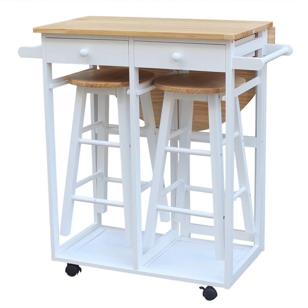 FCH Semicircle Solid Wood Folding Dining Cart With 2 Free Stools White Foldable Semi-circular Stool With Solid Wood Dining Car