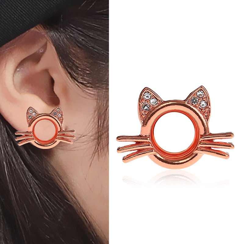 1pc 성격 패션 귀여운 고양이 귀 확장 새로운 도착 귀 피어싱 플러그 라인 석 귀 확장 고양이 스타일 바디 쥬얼리
