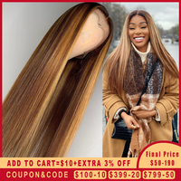 Ombre Highlight Human Hair Wig Brown Honey Blonde Colored 13x6 Lace Front Wigs For Black Women Remy Straight 130 150 180 Density