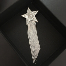 цены 2019 fashion star chain tassel brooch breast pin  rhinestone brooch silver women suit accessories luxury brand