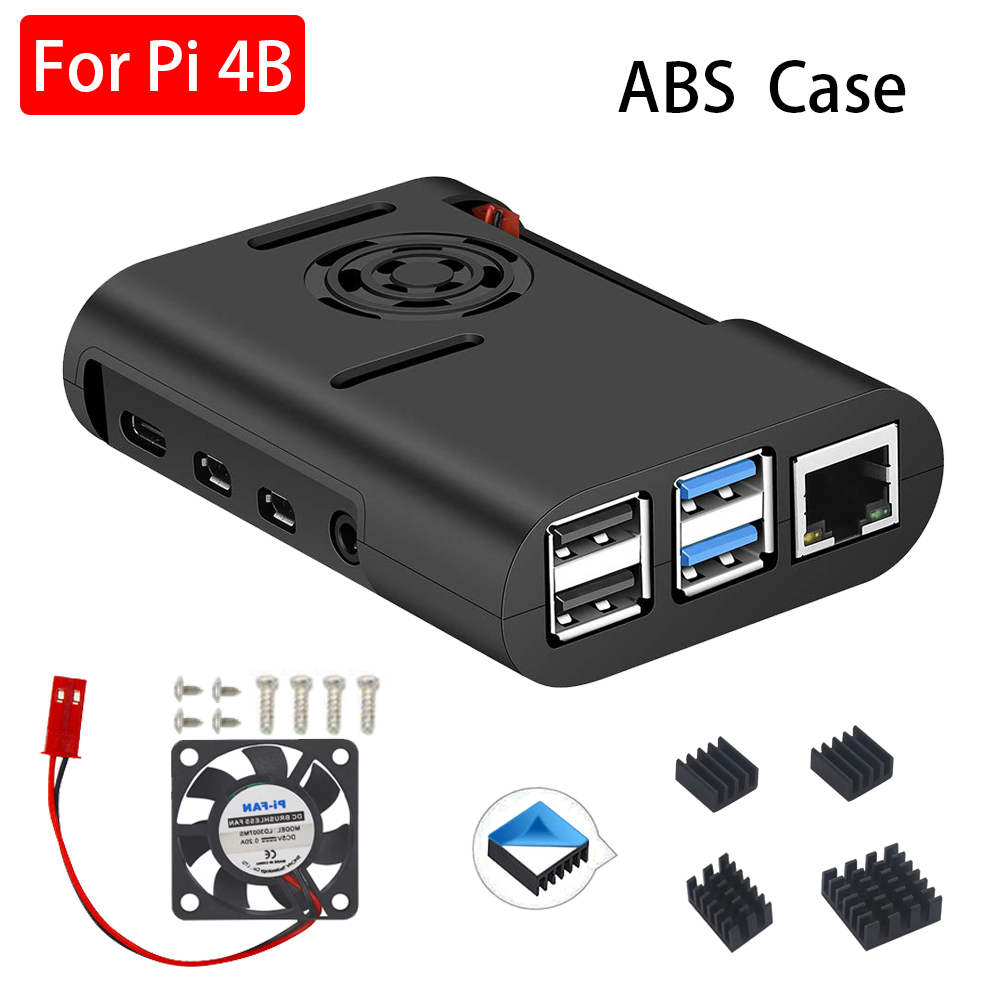 Raspberry Pi 4 ABS Case Black Box Protective Enclosure + Cooling Fan Aluminum Heat Sink For Raspberry Pi 4 Model B For Pi 4B