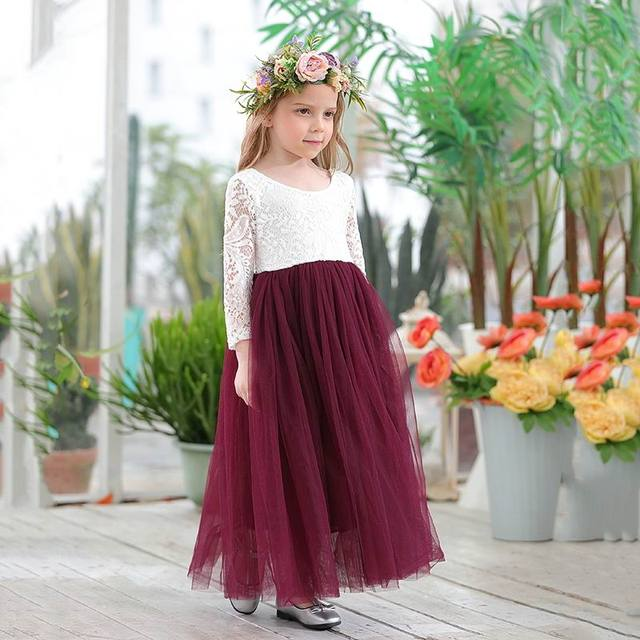 Robe princesse en dentelle blanche, longueur cheville, robe de soirée pour enfants, dos avec cils, E15177