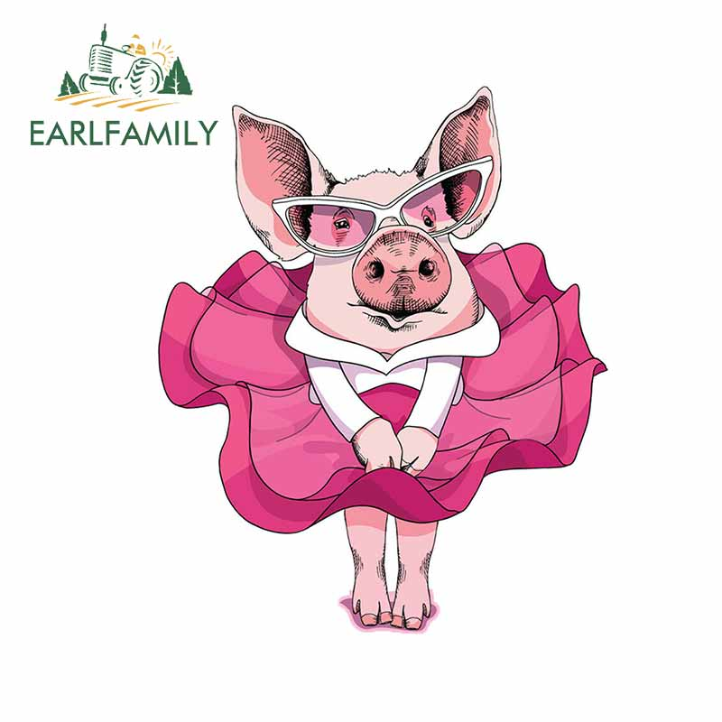 EARLFAMILY 13cm x 10.9cm For Pig Dress Fashion Car Stickers Occlusion Scratch Decal Personality Creative Suitable for VAN RV JDM