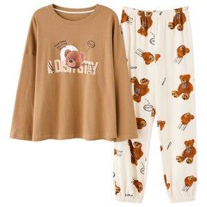 Image 5 - M L XL XXL 3XL 4XL 5XL uzun kollu kadın kıyafeti pijama 100% pamuklu gecelik setleri sonbahar pijama kadın pijama