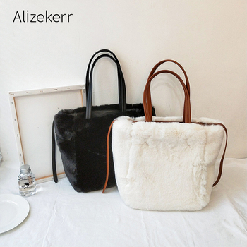 Faux Rabbit Fur Double Sided Tote Bag Women 2020 Winter New Korean Large Capacity Shoulder Bags Female Top Quality Casual Purse