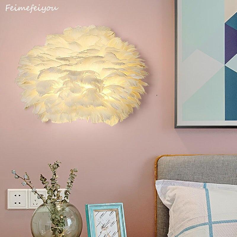 nordic lampada de parede led simples e moderno sala estar lampada de parede criativo pena criancas