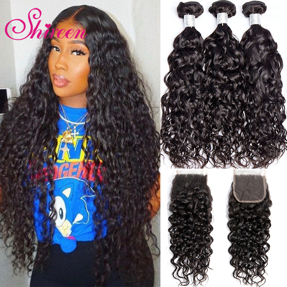 Shireen Hair Natural Water Wave Bundles With Closure Natural Color NonRemy Human Hair Weave 3 Bundles With Closure Peruvian Hair