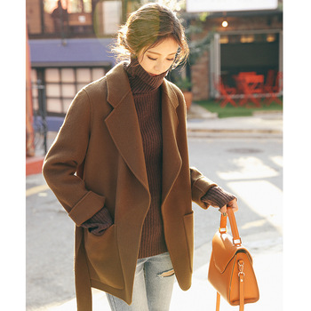 Short section with double-faced fleece full wool coat female 2019 autumn winter new Korean double-faced woolen coat duoupa 2019 spring new handmade wool double faced coat woolen coat female long section was thin korean version