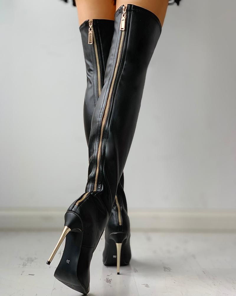 Zipper Knee-High Thin Heel Boots black solid color over  knee high long boots