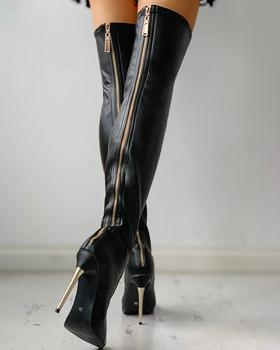 Zipper Knee-High Thin Heel Boots black solid color over  knee high long boots zipper knee high thin heel boots leather sexy red long boots high heel over knee pointed toe sexy party shoes