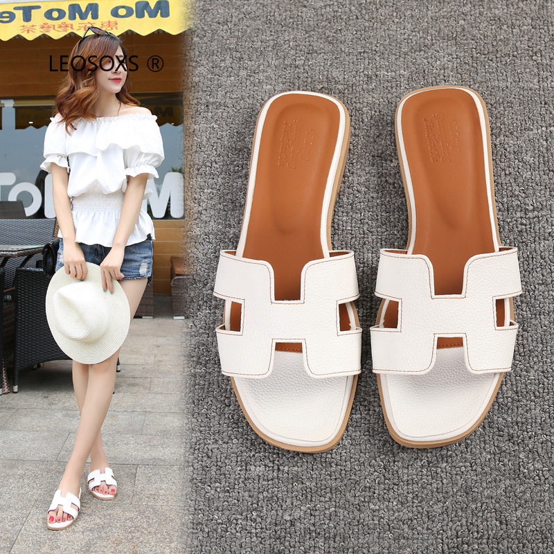 2020 Summer Ladies Fashion Flat Slippers Simple Plus Size Indoor PUH Slippers Designer Rubber Beach Flip Flops
