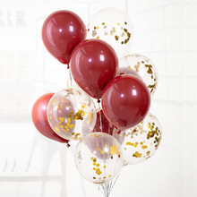 10pcs Red Latex Balloons Assorted Gold Confetti Transparent for Wedding Baby Shower Kids Birthday Party Decoration