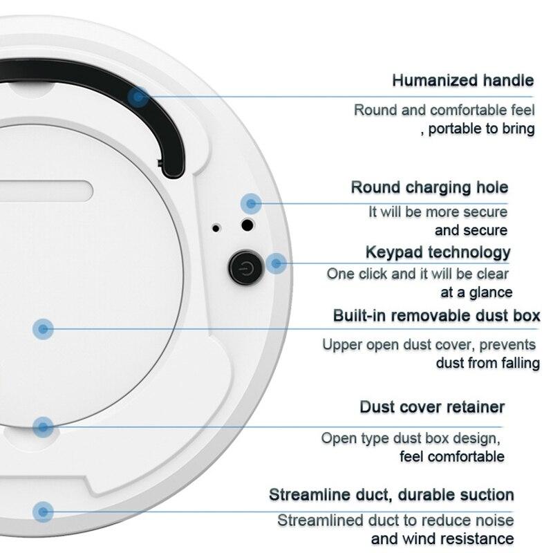 3-In-1 Auto Kehr Roboter-staubsauger USB Aufladbare Smart Boden Mop Reinigung Hause Büro Trockenen und nass Kehren Reiniger
