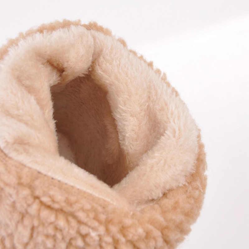 Inverno Stivali Della Caviglia Delle Donne Stivali Stivali da Neve Femminile Delle Signore Della Piattaforma Del Tallone Quadrati Flock Scarpe Delle Donne di Inverno Slip-on Zapatos de Mujer