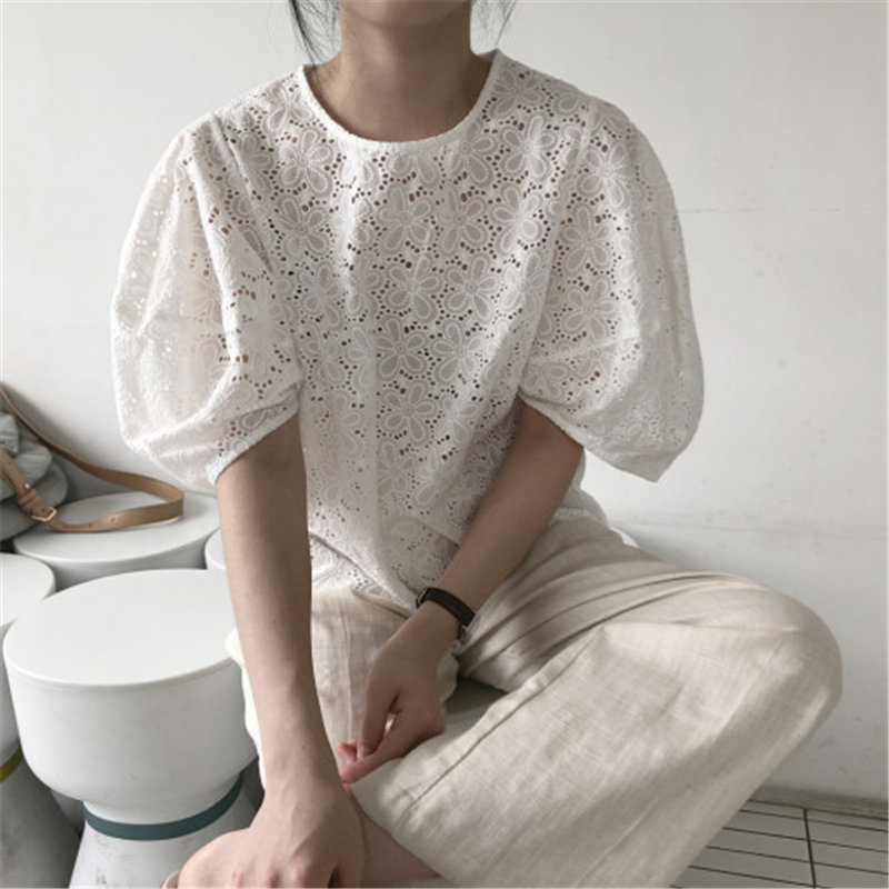 Alien Kitty 2020 Korean Chic Lady Round Neck Tops Lace Streetwear Shirts All Match Stylish Hollow Out New Women Loose Blouses