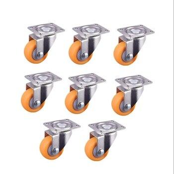 8x ruedas giratorias de Nylon para carritos, naranja 32mm 17kg