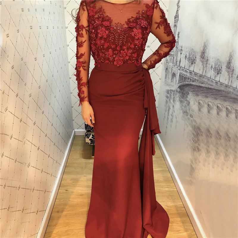 New Robe De Soiree Mermaid Long Evening Dress Full Sleeves Flower Lace Bodice вечерние платья Vintage Prom Gown 2020