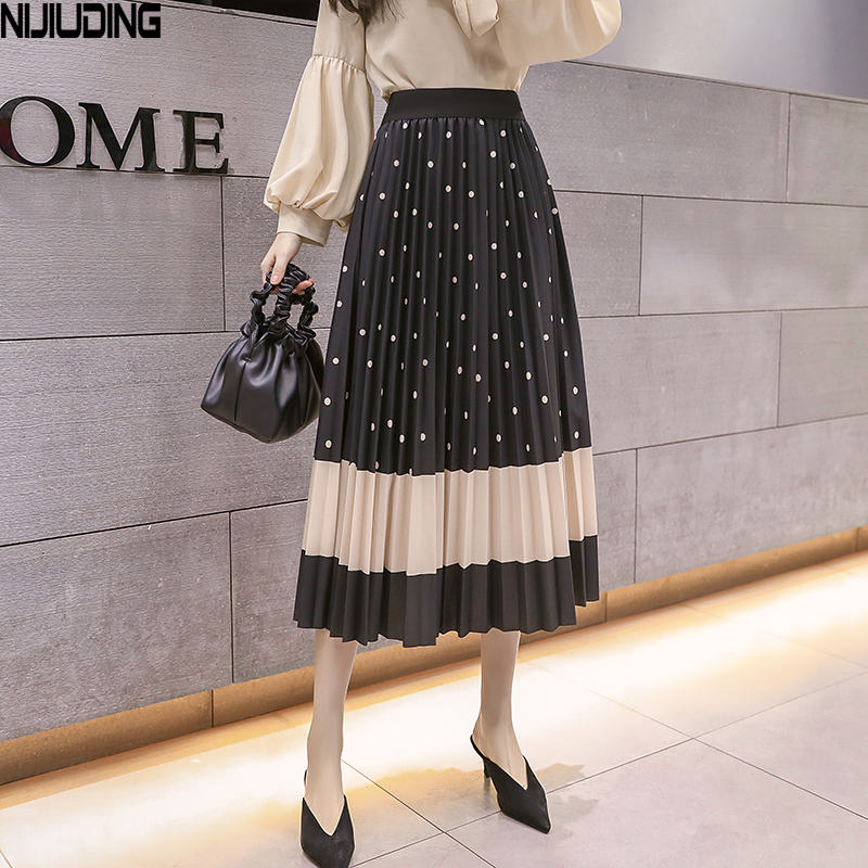 2020 Spring Summer New Fashion Printed Pleated Skirt Female Tide Long Section Elastic Waist Skirt Big Swing Mid-length Skirts