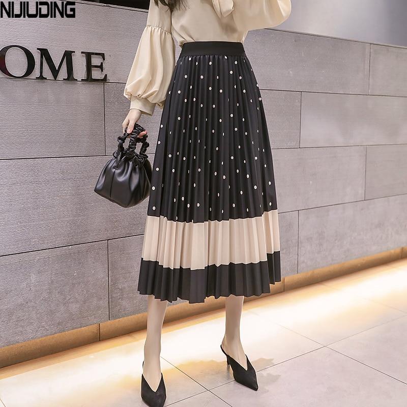 2020 Spring Summer New Fashion Printed Pleated Skirt Female Tide Long Section Elastic Waist Skirt Big Swing Mid-length Skirts
