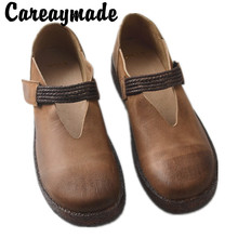 Careaymade-New Real Leather Single Shoes Female Pure Cowskin Soft Bottom Style Artistic Handicraft Flat shoes