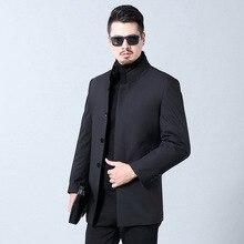 Treasure Luan зима стиль среднего возраста бизнес норка стоячий воротник Повседневная пуховая перьевая подкладка мужская пуховая куртка средней длины