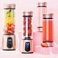 Licuadora de jugo de frutas vegetales mezcladora de jugo taza eléctrica portátil 450mL 6 hojas saludable batidora de proteína