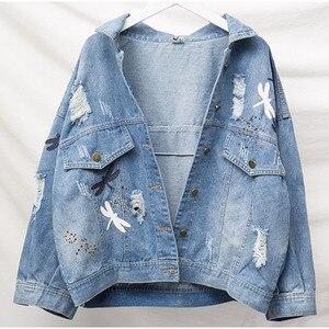 Image 2 - בתוספת גודל רופפת החבר Ripped רקמת נשים ינס מעילים 3Xl 4Xl 5Xl אביב Streetwear מעיל ילדה