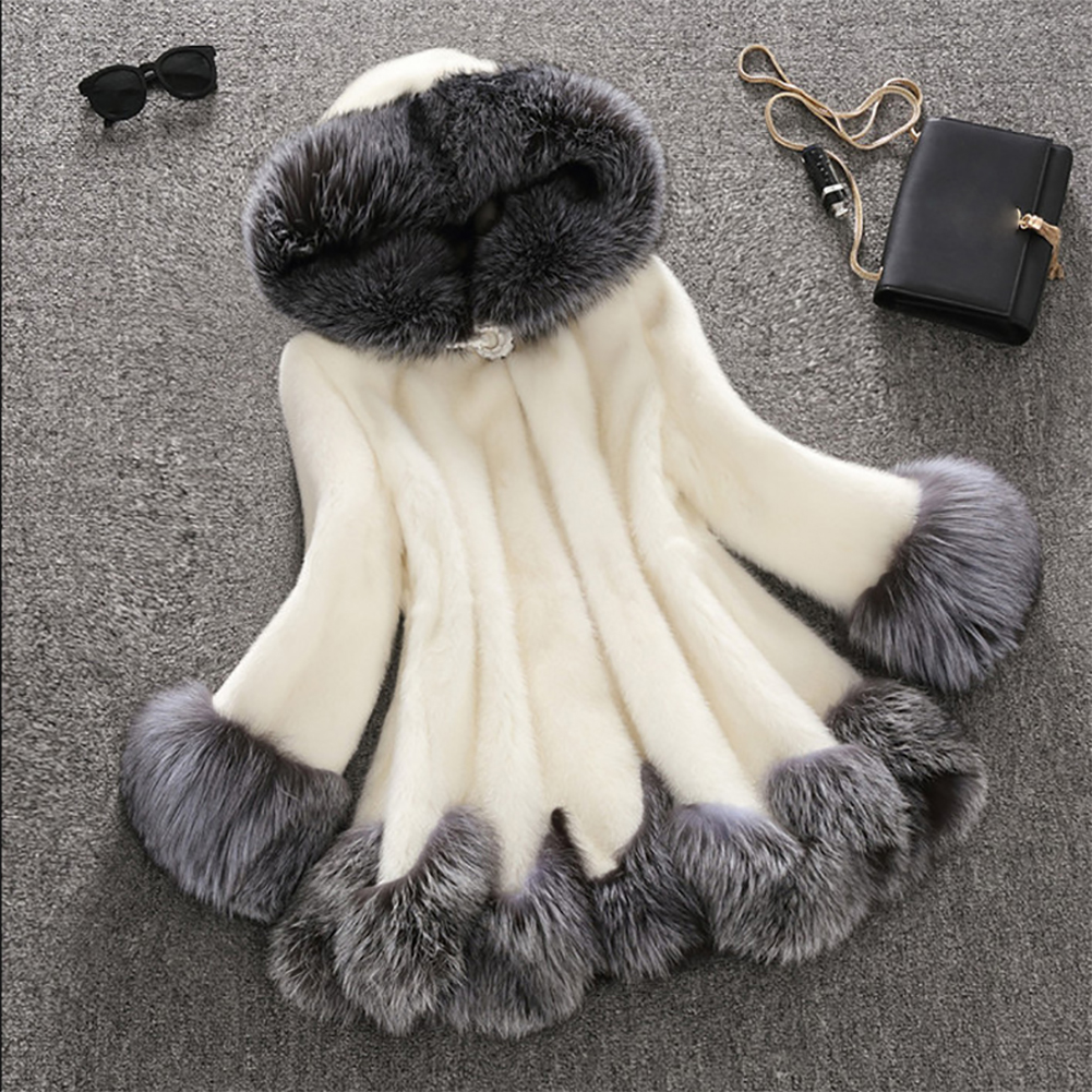 Women Faux Fur Cape Coat Winter Luxury Hooded Warm Fluffy Womens Cloak Elegant Party Plus Size Female Coat Hairy Outerwear