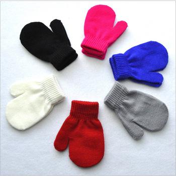 New Arrival zimowe chłopcy dziewczęta rękawiczki z dzianiny ciepłe pełne mitenki rękawiczki dla dzieci maluch dzieci zimowe rękawiczki 1-4 Y tanie i dobre opinie KAIGOTOQIGO CN (pochodzenie) Unisex Akrylowe Stałe DO NADGARSTKA moda Baby Gloves gloves for children mittens children s gloves