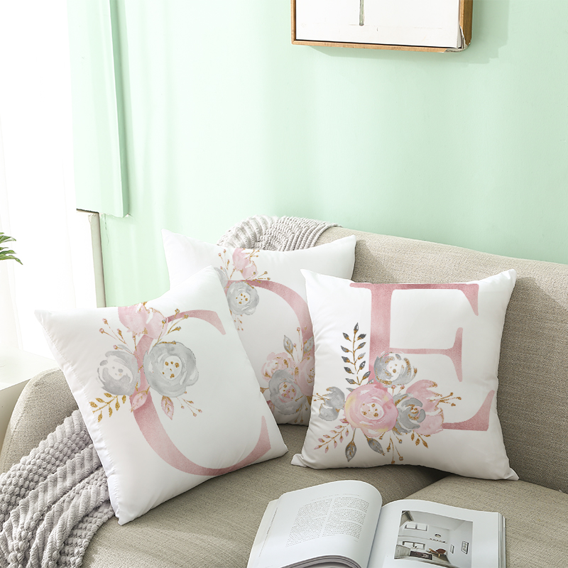 26 letters pink decorative pillow cushion cover pillowcase sofa polyester cushion pillowcase cuscini decoration