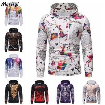 MarKyi 2020 Autumn Fashion Digital printing Men Harajuku Hoodie Hip Hop Plus Size Hoodie Pullover Hoody christmas digital print pullover hoodie