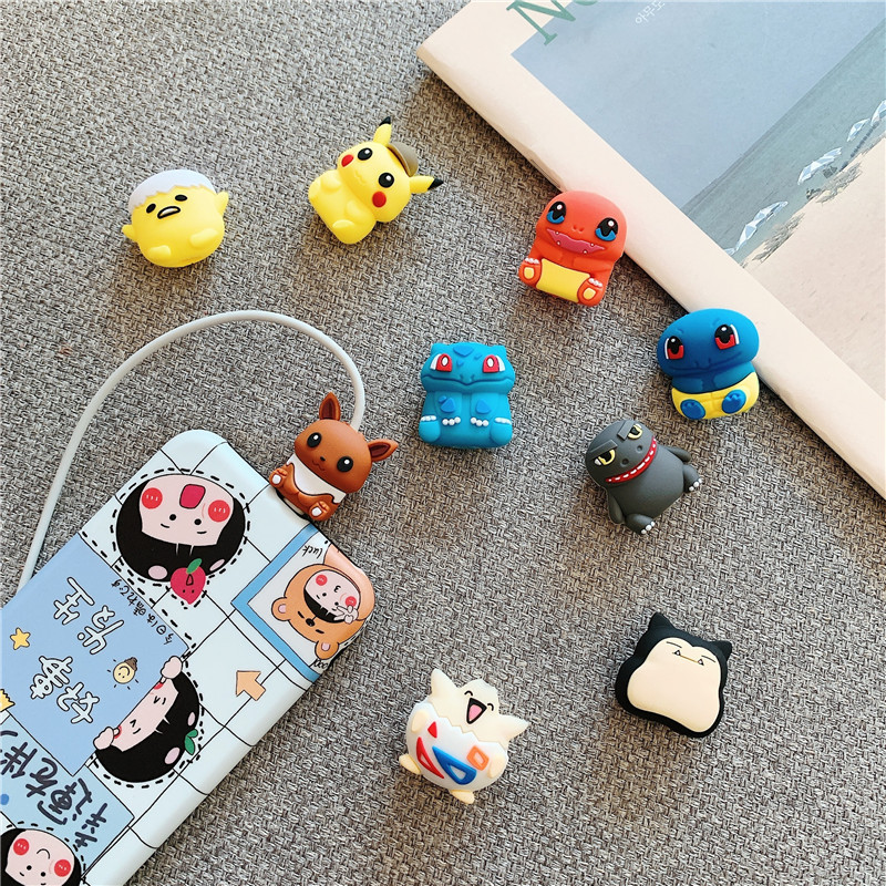 Pokemon Pikachu data cable protective sleeve cartoon silicone mobile phone cable holder anti-breaking winding birthday gifts 1